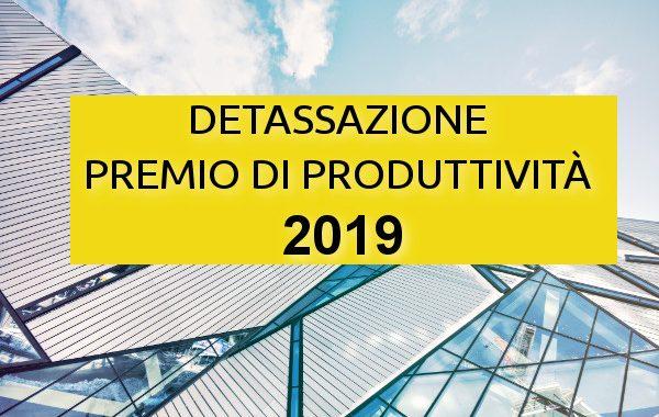 detrazione premio produttività 2019